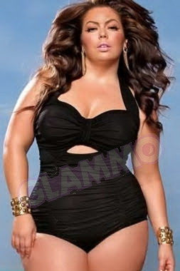 Black ruched plus size monokini #oy932