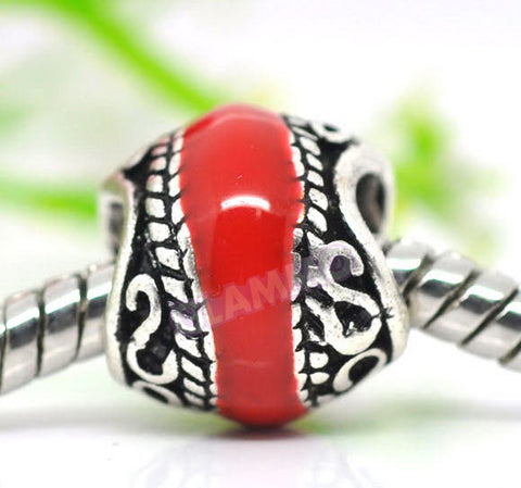 Red Silver-plated Tribal European Bead #rd3502