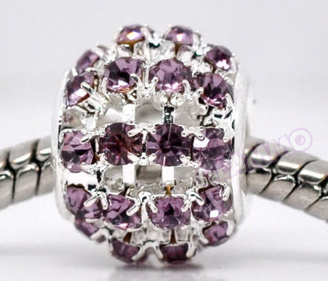 Purple Pave Crystal European Bead #pu3802