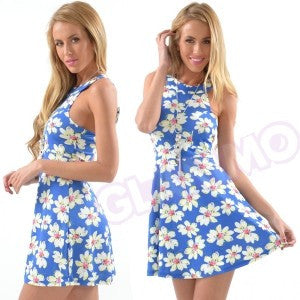 Dazzling blue daisies skater dress  #gl325