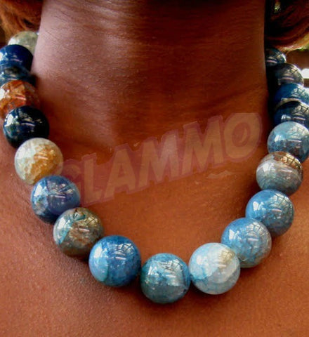 Blue variegated Agate bead 20mm maxi necklace #st3070