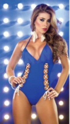 Blue laced-up one-piece #oy851