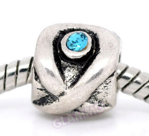Blue Crystal Evil Eye European Bead #gu4257
