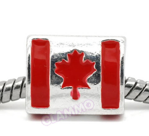 Canada Flag Triangular European Bead #fg4201