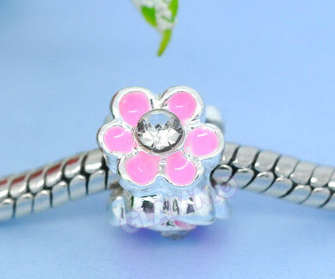 Pink Flower Clear Crystal European Bead #pk3753