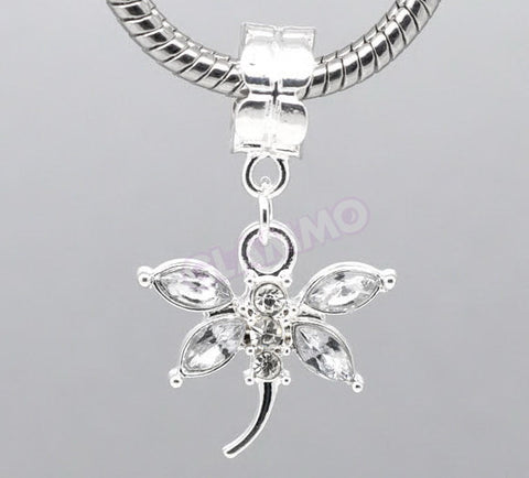 Clear Crystal Dangling Dragonfly European Bead #wh3381
