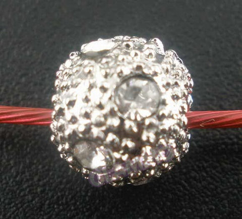 Clear Crystal Studded Silver-Plated Ball European Bead #wh3383