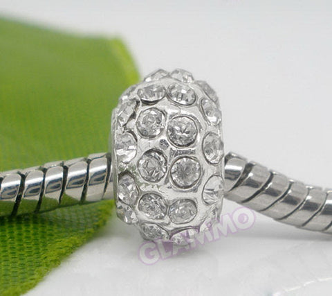 Clear Pave Crystal European Bead #wh3384
