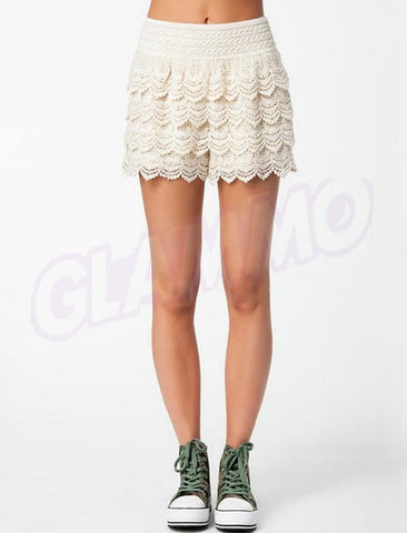 Cream tiered hand-crocheted lace shorts #oy1252