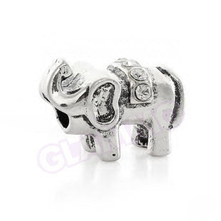 Elephant Clear Crystal European Bead #eb1353