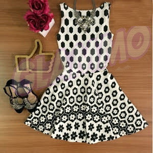 Retro white black flower skater dress #gl336