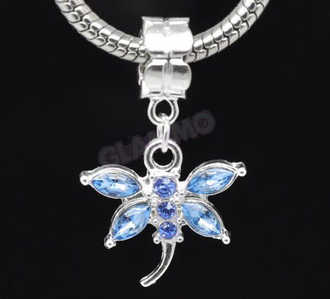 Sky Blue Crystal Dangling Dragonfly European Bead #sb3652