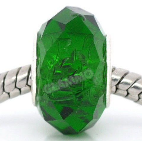 Faceted Green Crystal European Bead #gr3850