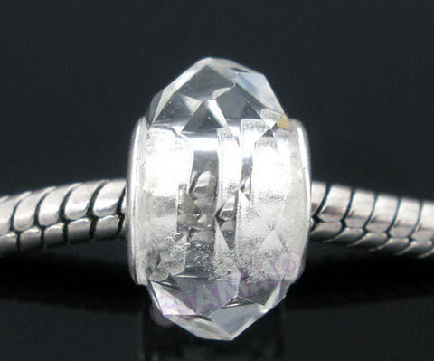 Faceted Clear Crystal European Bead #wh3388