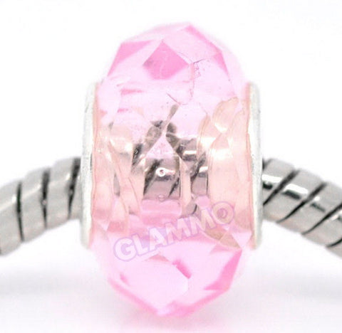 Faceted Pink Crystal European Bead #pk3758