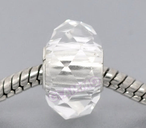 Faceted Clear Crystal II European Bead #wh3389