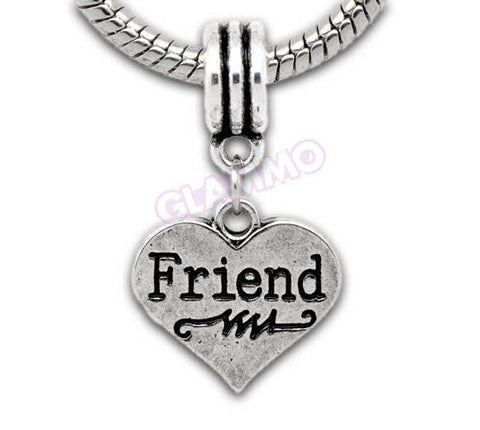 Friend Dangling Heart European Bead #lf3703