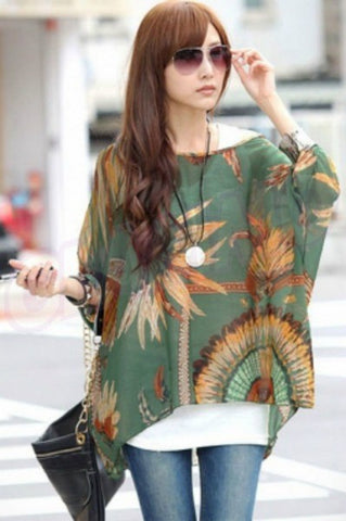 Olive green feather chiffon loose summer top #wc529