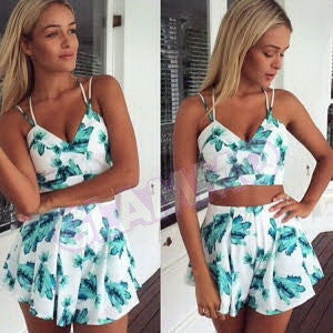 Green white floral crop top high waist shorts #oy1357