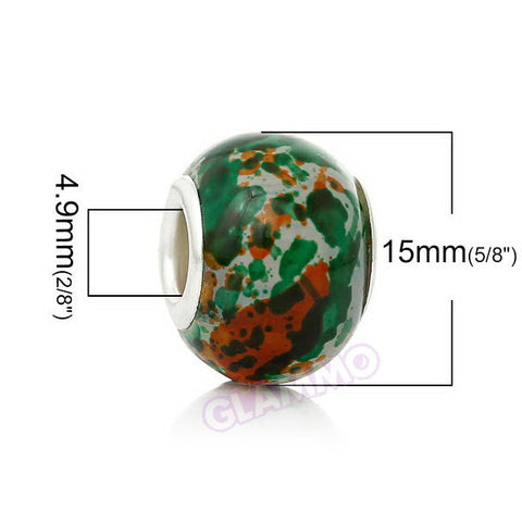 Forest Green Orange Art Glass European Bead #gr3853