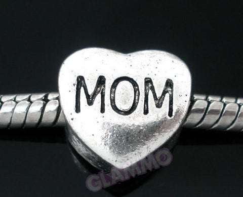 Mom Heart Shaped European Bead #md4403