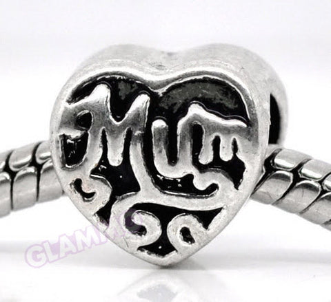 Mum Heart Shaped European Bead #md4405