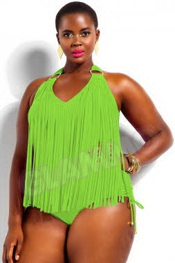 Neon green fringed plus size one-piece sexy swimsuit #oy920