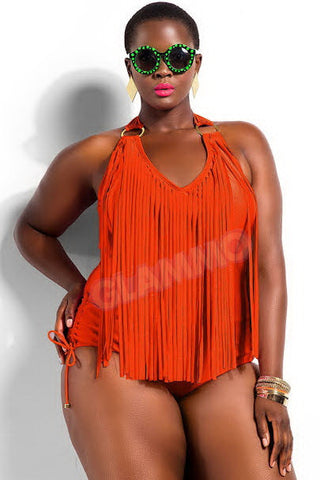 Orange fringed plus size one-piece sexy swimsuit #oy921