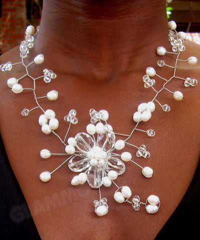 White Freshwater pearl crystal necklace #cr3050