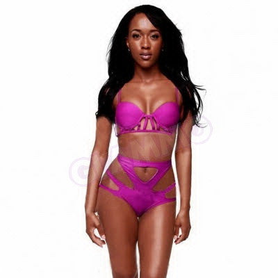 Breathtakingly sexy fuchsia hollow-out bikini #oy916