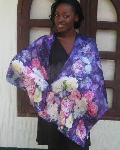 Beautiful purple rose silk scarf #ls1608
