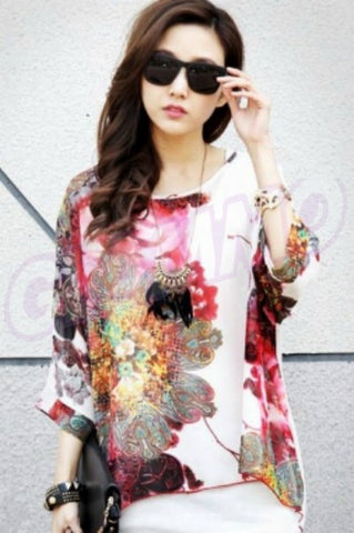 Pink flower chiffon loose summer top #wc525