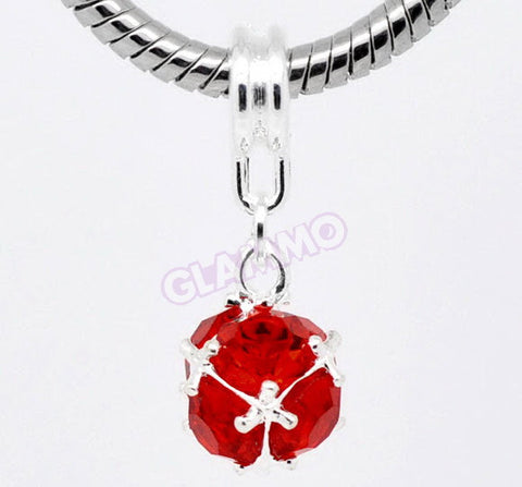 Dangling Red Round Crystal European Bead #rd3504