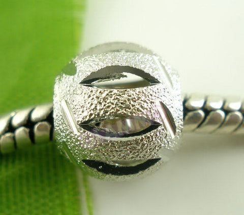 Silver-Plated Shiny Slitted Spacer European Bead #ch4300