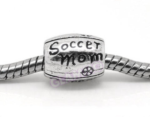 Cylindrical Soccer Mom European Bead #fa3222