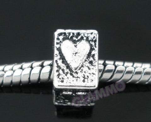 Rectangular Heart European Bead #md4400
