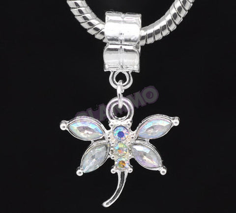 AB-Crystal Dangling Dragonfly European Bead #wh3395