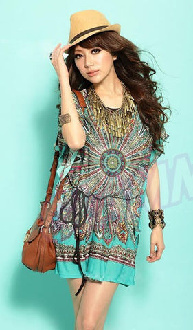 Turquoise ray paisley summer top #wc541