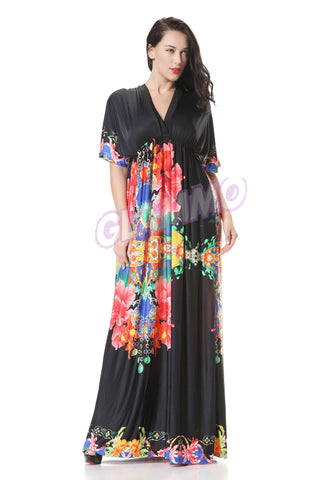 Deep V-Neck Black & Floral Print Maxi Dress #PL103