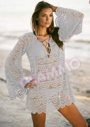 White bell sleeve crocheted lace top #we214