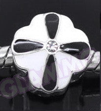 Black White Petal Clear Crystal European Bead #bl3521