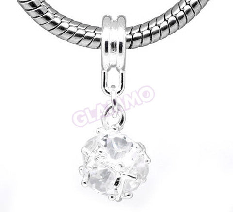 Dangling Clear Crystal Ball European Bead #wh3370