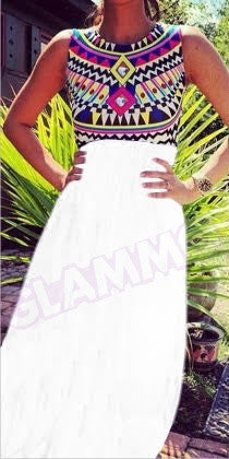 White Tribal Sleeveless Maxi Dress #gl245