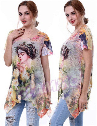 Sequin Micro-fibre Yellow Lady in Rose Garden Summer Top #OY1363