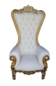 Gold An White Single Throne Chair