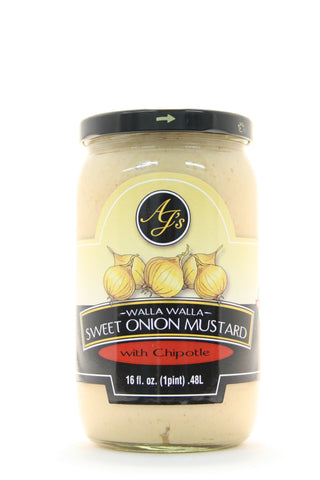AJs Walla Walla Sweet Onion Mustard with Chipotle - Net Wt. 16 oz.