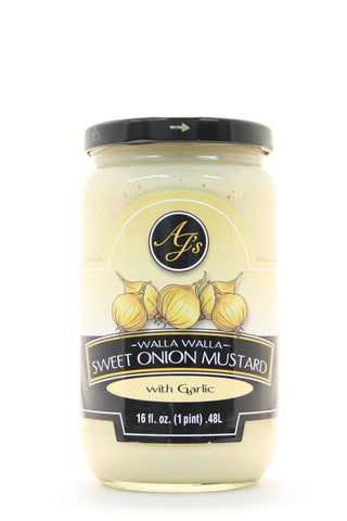 AJ's Walla Walla Sweet Onion Mustard with Roasted Garlic 16 oz.