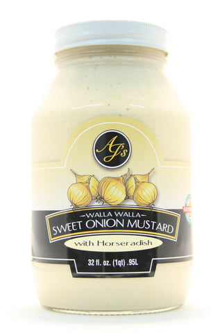AJ's Walla Walla Sweet Onion Mustard with Horseradish - Net Wt. 32 oz.