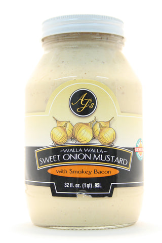 AJ's Walla Walla Sweet Onion Mustard with Smokey Bacon - Net Wt. 32 oz.