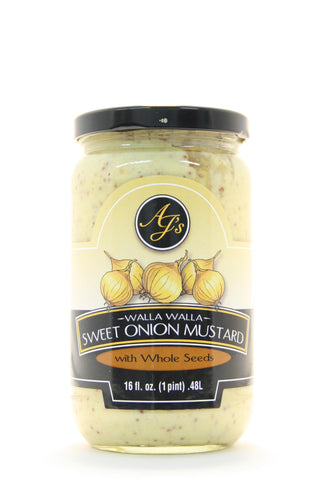 AJs Walla Walla Sweet Onion Mustard with Whole Seeds 16 oz.
